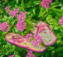 """""""Pretty In Pink"""" - flip flops in flowers by John Hartung"""