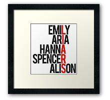 Pretty Little Liars Group Liars Framed Print