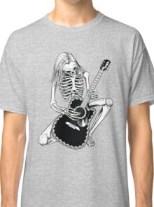Skeleton Bones Dead Acoustic Guitar Player Classic T-Shirt