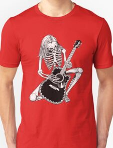Skeleton Bones Dead Acoustic Guitar Player Unisex T-Shirt