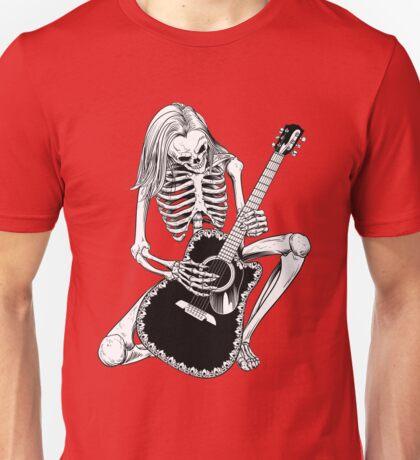 Skeleton Bones Dead Acoustic Guitar Player Unisex T-Shirt