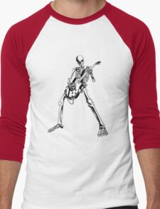 Skeleton Bones Dead Electric Guitar Player Men's Baseball ¾ T-Shirt