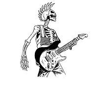 Skeleton Bones Dead Electric Guitar Player 2 Photographic Print