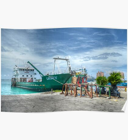 Cargo boat at Potter's Cay loading freight to deliver in the Family Island - Nassau, The Bahamas Poster