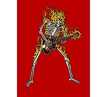 Flame Skeleton Dead Electric Guitar Player Photographic Print