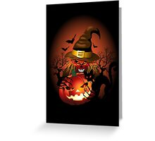 Skull Witch Creepy Halloween Greeting Card