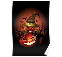 Skull Witch Creepy Halloween Poster