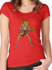 Flame Skeleton Dead Electric Guitar Player Women's Fitted Scoop T-Shirt