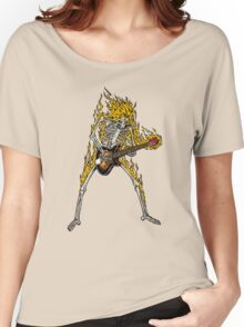 Flame Skeleton Dead Electric Guitar Player Women's Relaxed Fit T-Shirt