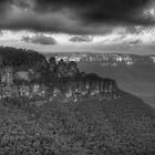 Icons (Monochrome) - Jamison Valley, Katoomba Blue Mountains World Heritage Area - The HDR Experience by Philip Johnson