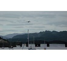 Hercules plane flying over Barmouth Photographic Print