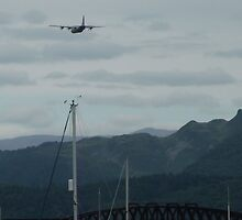 Hercules plane flying over Barmouth by mindgoop