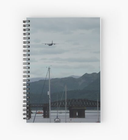 Hercules plane flying over Barmouth Spiral Notebook