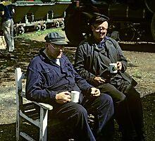 Engine crew takes a break, UK, 1980's. by David A. L. Davies