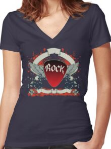 Rock and Roll Guitar Pick Wings Women's Fitted V-Neck T-Shirt
