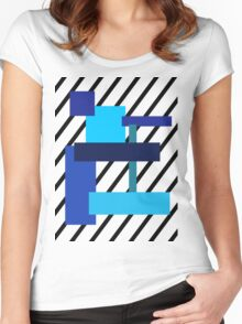 Blue squares of blue! Women's Fitted Scoop T-Shirt