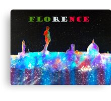 Florence Italy Skyline And Flag Colors Banner Canvas Print