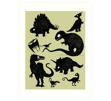 Silhouetted Dinosaurs Art Print