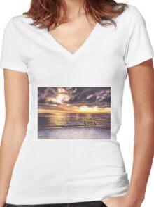 Sunset Beach Women's Fitted V-Neck T-Shirt