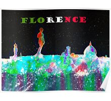 Florence Italy Skyline And Flag Colors Banner Poster