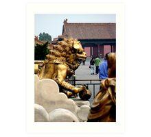 Lion Statue, Forbidden Palace, Beijing, China Art Print