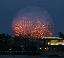 Walt Disney World Epcot Spaceship Earth at night by chewi