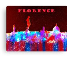 Florence Italy Skyline With Red Banner Canvas Print