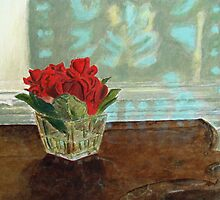 Reflection with Roses on Marble by johnpbroderick