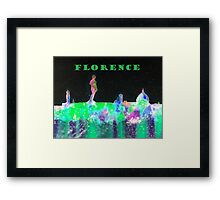 Florence Italy Skyline With Green Banner Framed Print