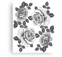 White Realistic Roses Canvas Print