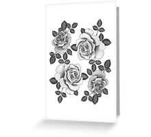 White Realistic Roses Greeting Card