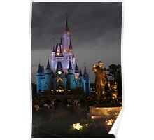 WDW Magic Kingdom Castle & Walt at night Poster