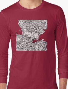 Black White Music Collage Long Sleeve T-Shirt