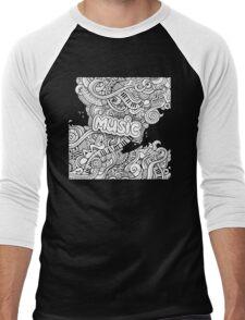 Black White Music Collage Men's Baseball ¾ T-Shirt
