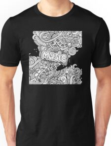 Black White Music Collage Unisex T-Shirt
