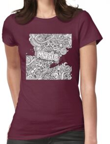 Black White Music Collage Womens Fitted T-Shirt