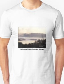 foggy sunrise, Columbia River, Rainier Oregon, haiku T-Shirt