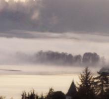 foggy sunrise, Columbia River, Rainier Oregon, haiku Sticker