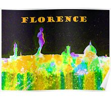 Florence Italy Skyline With Orange Banner Poster