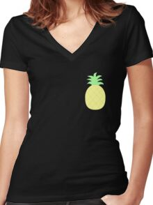 Pinapple Pattern Women's Fitted V-Neck T-Shirt