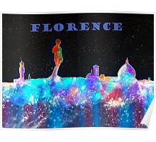 Florence Italy Skyline With Blue Banner Poster