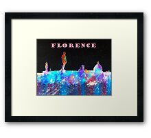 Florence Italy Skyline With Mauve Banner Framed Print