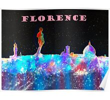 Florence Italy Skyline With Mauve Banner Poster