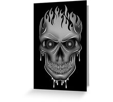 Flame Skull - Silver (2) Greeting Card