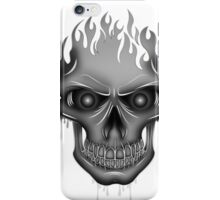 Flame Skull - Silver iPhone Case/Skin