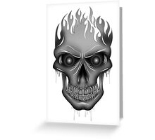 Flame Skull - Silver Greeting Card