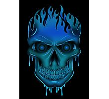 Flame Skull - Blue (2) Photographic Print