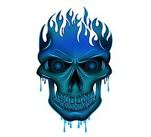Flame Skull - Blue Photographic Print