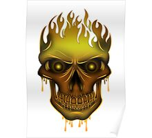 Flame Skull - Gold Poster