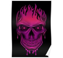 Flame Skull - Hot Pink (2) Poster